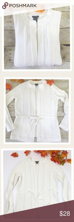 """🆕 Ann Taylor off white sweater Beautiful off white cable knit sweater with matching sweater belt. Wear loose and open or tied. This is a perfect addition to the Fall wardrobe. Worn only a couple of times. In excellent condition. 🔹Bust 36"""" 🔹Length 26"""" 🔹Sleeve length 25"""" Ann Taylor Sweaters"""