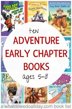 Adventure early chapter books for kids ages 5 to For kids who are beyond easy readers. Adventure early chapter books for kids ages 5 to 8 feature fast-paced, exciting action and heroic boy and girl protagonists. Great for reluctant readers. Kids Reading, Teaching Reading, Reading Lists, Reading Books, Reading Time, Teaching Ideas, Kindergarten Reading, Reading Strategies, Guided Reading