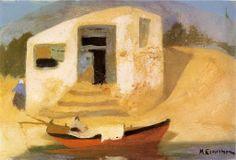 .:. Οικονόμου Μιχαήλ – Michail Oikonomou [1888-1933] Σπίτι με βάρκα Greek Art, Painting & Drawing, Greece, Drawings, Image, Painters, Envelopes, Europe, Greece Country