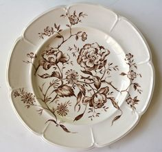 Vintage Brown Transferware Plate Mixed Botanicals English Roses Daisies