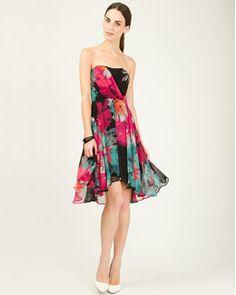Chiffon Floral Print Cocktail Dress