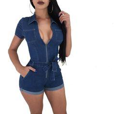 Women Summer Casual Street Denim Short Sleeve Playsuits Deep V Party Jeans Slim  Jumpsuits Female Bodysuits Vintage Rompers ed59cd0b5