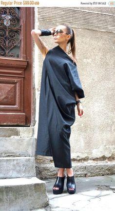 SALE New Maxi Linen Dress / Black Kaftan Linen Dress / One