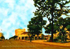 Praça de Ourinhos anos 60 - Pintura Digital
