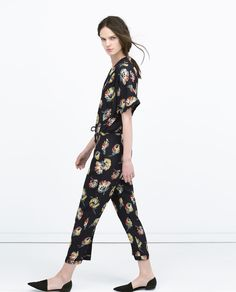 FLORAL JUMPSUIT WITH LAPEL COLLAR-Jumpsuits-WOMAN | ZARA United States