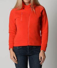 Loving this Red Asymmetrical Zip Hoodie on #zulily! #zulilyfinds