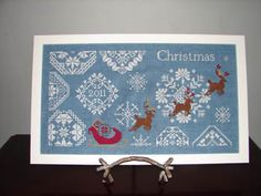 Snowy Christmas Quaker Style - Cross Stitch by AuryTm.  I'm not big into seasonal stuff but I love the blue and white. Reminds me of Wedgewood china.