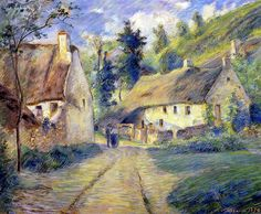 Cottages at Auvers, near Pontoise by Camille Pissarro. French Impressionist and Pointillist Painter Renoir, Claude Monet, French Impressionist Painters, Impressionist Artists, Impressionism Art, Richard Diebenkorn, Paul Cezanne, Camille Pissarro Paintings, Pissaro Paintings