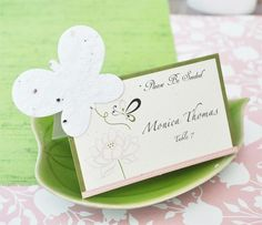 """""""Please Be Seeded"""" Butterfly Plantable Seed Place Cards (set of 12) - BlissfulFavors.com"""