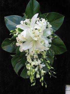 White Tropical Wedding Bouquets Ideas