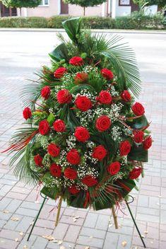 "Wianki - Kwiaciarnie ""Ewart"" Suwałki Diy Flower Arrangements For Funeral, Funeral Flowers, Floral Arrangements, Diy Flowers, Wedding Flowers, Design Art, Floral Design, Funeral Sprays, Cemetery Flowers"