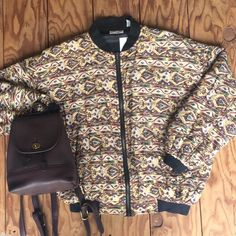 """Robert Stock Silk Bomber for $28. Size Small (26""""x25"""") and a VTG Coach Brown Leather Backpack for $80 Contact the shop at 415-796-2398 to purchase by phone or send PayPal payment to afterlifeboutique@gmail.com and reference item in post; the first confirmed payment will get the item.  Call or DM with other questions."""
