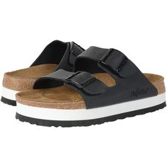 Birkenstock Arizona Platform (Black Birko-Flor   ) Women's Sandals ($100) ❤ liked on Polyvore featuring shoes, sandals, black shoes, cork footbed sandals, special occasion sandals, birkenstock shoes and black evening shoes