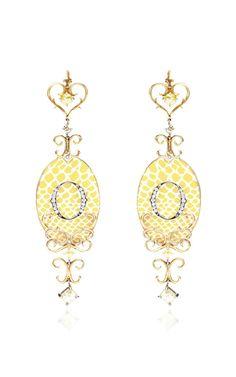 Enamel And Diamond Ikon Earrings by Bochic for Preorder on Moda Operandi