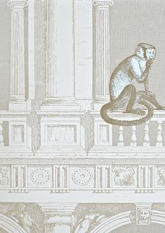 Procuratie e Scimmie Wallpaper An architectural wallpaper of rows of classical arches in taupe on light cream, with pale blue monkeys wandering amongst the pillars and arches.