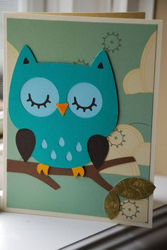 owl card---Heather, Cricuit Create a Critter cartridge