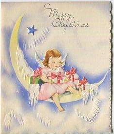 A sweet little CHRISTMAS ANGEL sitting on an Icicle covered Crescent Moon with embossed mica frost. Vintage White Christmas, Vintage Christmas Cards, Retro Christmas, Christmas Tag, Christmas Greeting Cards, Christmas Angels, Christmas Greetings, Christmas Glitter, Christmas Patterns