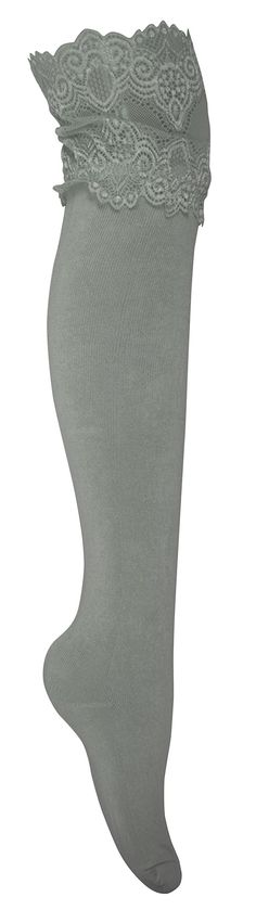 Peach Couture Stylish High Wide-Lace Jersey Knit Knee-High Cotton Boot Socks (Grey). New by Peach Couture (A Registered Trademark). Warm knit fashionable knee hich boot socks. The perfect item to put a finishing touch on any fall or winter outfit!. Features a Lace trimmed top to accentuate any pair of boots. Product Materials: 80% Cotton 20% Gauzing.