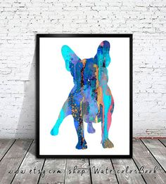 French Bulldog Watercolor Print French Bulldog by WatercolorBook