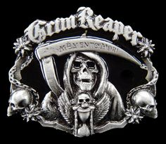 GRIM REAPER SKULL GHOST COOL OLD GOTHIC BIG BELT BUCKLE