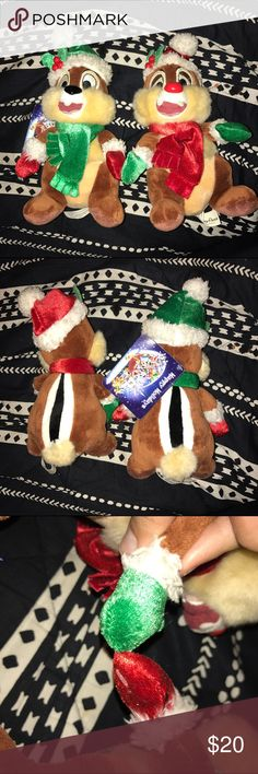 DISNEYLAND chip and dale christmas stuffed animals This is from Disneyland park in California. This is a chip and dale Christmas stuffed animal. They are attached with a plastic tag but can be separated permanently by cutting the plastic tag. Brand new and have never been played with. They are soft and have furry Santa hats on. Disney Other