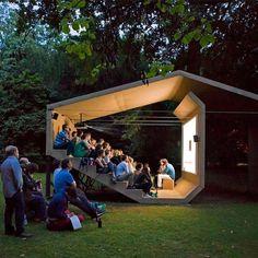 The People's Cinema, Pavillon, Design © Erika Hock Outdoor Stage, Outdoor Cinema, Outdoor Theater, Urban Landscape, Landscape Design, Landscape Fabric, Landscape Architecture, Interior Architecture, Theater Architecture