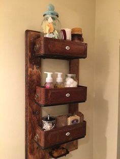 Vintage Sewing s 12 wildly creative ways to use your old sewing table, painted furniture, Upcycle it into vintage bathroom shelves - Even if you don't love sewing, you're going to want a sewing table after seeing this Decor, Upcycled Furniture, Furniture, Repurposed Furniture, Machining Projects, Shelves, Painted Furniture, Vintage Bathroom, Sewing Machine Drawers