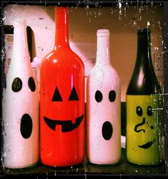 Painted Decorative Wine Bottles