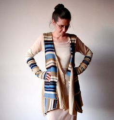 Upcycled Clothing Asymmetrical Vest and Arm Warmers Reconstructed Sweater Blue Beige Stripess Recycled Clothes Upcycled Woman's Clothing