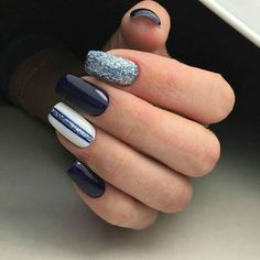 Are you looking for hot manicure nails design? Mainstream social apps will give you the right answer. The manicure nail design that most people pursue will not go wrong, isn't it? Manicure Nail Designs, Toe Nail Designs, Nail Manicure, Nail Polish, Nails Design, Silver Nails, Blue Nails, Hair And Nails, My Nails