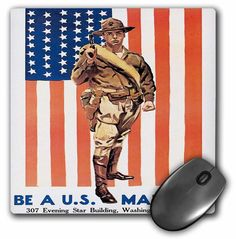 Vintage Be A US Marine Washington DC Recruiting Poster, Mouse Pad, 8 by 8 #3dRose #Vintage