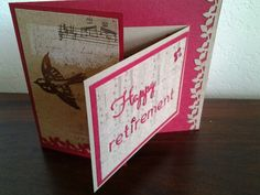 A retirement card for a friends using a joy fold, some die cut lettering and a leaf border punch. I left it very simple and left the majority of the card showing the base card color. I only layered two small sections.
