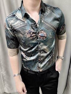 Best Casual Outfits, Cool Summer Outfits, Casual Dresses, Mens Fashion Suits, Fashion Outfits, Mens Designer Shirts, Moda Casual, Mens Clothing Styles, Satin