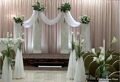 Wedding Ceremony Decor..not the pink,but the white draping fabric on outside wedding..