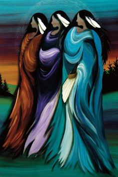 Three Sisters by Betty Albert Cree Indian Native American Women Framed Art Print Picture Sisters Art, Three Sisters, Native American Women, American Indian Art, American Indians, Native American Paintings, Native American Artists, Canadian Artists, Art Diy