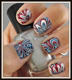 Fun with water marbling, cute 4th of July nails