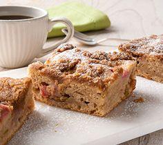 Spiced Rhubarb Coffee Cake Squares