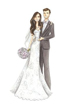 Custom Bridal Portrait Watercolor Fashion by StephanieJimenez
