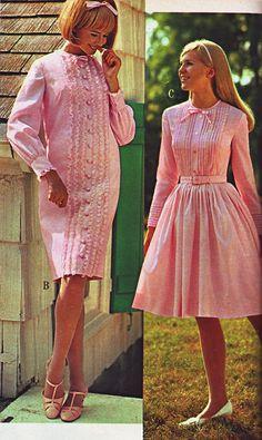 1960s Fashion Women, 60s And 70s Fashion, Vintage Street Fashion, Retro Fashion, 1960s Outfits, Rockabilly Outfits, Pink Outfits, Mode Outfits, Pink Dresses