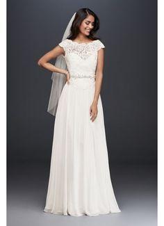 Illusion Lace and Chiffon Petite Wedding Dress 7WG3851