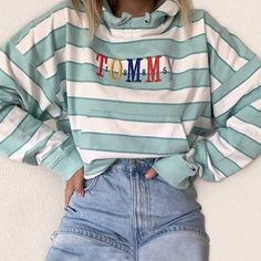 daily letters embroidery loose striped kangaroo pocket hoodie - - daily letters embroidery loose striped kangaroo pocket hoodie Source by Mode Outfits, Retro Outfits, Cute Casual Outfits, Fashion Outfits, Casual Chic, Womens Fashion, Striped Outfits, Cute Vintage Outfits, Fashion Trends