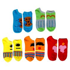 Sesame Street Women's 5-Pack No Show Socks - Multi-Colored 9-11, Multi- Colored
