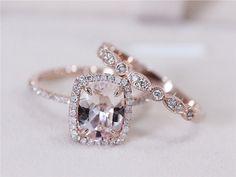 Art Deco VS 7x9mm Pink Morganite Wedding Set w/ by AbbyandWills