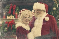 A real authentic Christmas photo of Santa Claus and Ms. Claus hugging at home. Real Santa Pictures and This images can be licensed to use at realsantaimages.com | Do Not Use Without A License