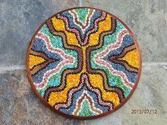 "#Art. Handmade multicolor #mixedmedia mosaic-like wall hanging. #Pinewood base 15"" diameter - Zens Ecowaves design. #handmade. #Zen. #ecofriendly. #walldecor."