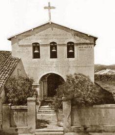 The Mission San Luis Obispo De Tolosa - San Luis Obispo, California - 1865,    The steps were so narrow back then!   And background empty!