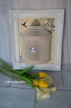 Shabby chic bird cage book fold picture home decor French influence hummingbird butterfly by ClaireyFairyMakes Bird Cage, Vintage Decor, French Vintage, Mother Day Gifts, Paper Flowers, Colorful Backgrounds, Picture Frames, Handmade Gifts, Shabby Chic