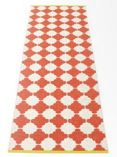 Marre - Plastic rug 70 cm wide, Color: Warm Grey · Vanilla, Crafted with love and pride in Sweden. Red Runner Rug, Black Runners, Design3000, Red Tiles, Soft Plastic, Warm Grey, Contemporary Rugs, Tile Patterns, Scandinavian Design