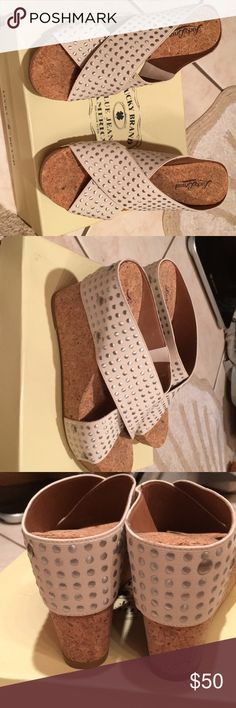 NEW LUCKY BRAND SANDALS 6.5 STUDDED ELASTIC New in box Lucky brand studded elastic sandals Nigori 6.5 wedge Lucky Brand Shoes Sandals
