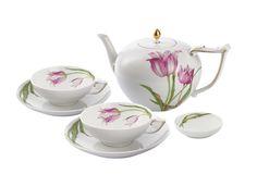 """Tee-Arrangement, Form """"I-Form"""", Tulpenmalerei"""